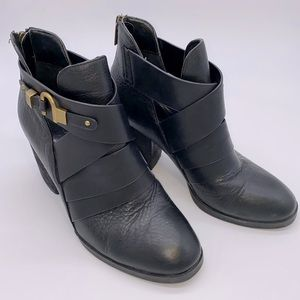 Isola Black Booties Leather Gold Buckles Stacked 8